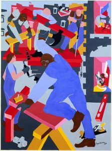 A brightly colored abstract painting depicts five construction site workers in denim coveralls, some with pink skin, some with brown skin, working at multiple building tasks. In the center of the foreground, a man with brown skin raises a hammer to pound a nail while leaning on a red-and-yellow sawhorse.