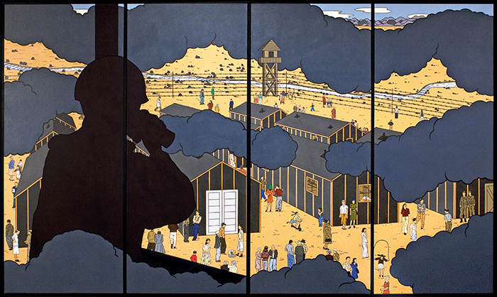 A 6-foot x 10-foot painting depicts a silhouetted guard, wearing a helmet, and using binoculars to observe tar-paper-covered buildings and people in a fenced, Japanese-American incarceration camp below. Three layers of dark clouds create undulating horizontal bands across the foreground, middle ground, and background.