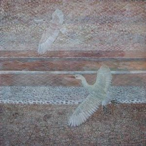 The foreground of this painting depicts a white, long-neck bird taking flight from the ground. In the background, the sand-colored land, the water, and the sky are painted in horizontal sections in pale red-and-brown hues. A second bird flies in the sky.
