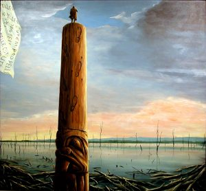 A painting depicts a lone man standing atop a large totem pole with a stylized beaver carving on its base and carved footprints leading up to the man. The figure overlooks a calm body of water with bare trees emerging from the water's surface in the background. Floating, fallen lumber gathers at the water's edge in the foreground. A white flag repeating the Latin words PRO PELLE CUTEM appears in the top left corner of the artwork.