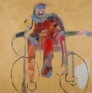 This painting depicts an abstract human figure facing us, dressed in red, with blue outlines, on a tan background, and seated in a wheelchair which is suggested by the outlines of armrests and two, large, oval wheel shapes with smaller circles inside.