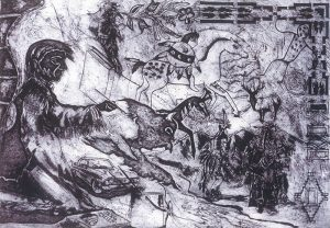 A black-and-white print depicts a man on our left wearing a jacket with a fringed sleeve, painting a buffalo. The background includes images of a car, a horse with a rider, an elk, floral and geometric patterns, and a scene of Native Americans next to a stream.