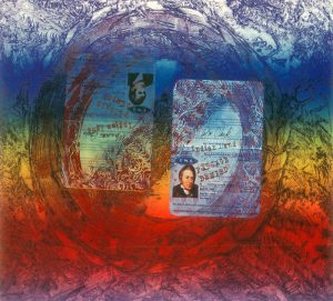 """The background of this print is a gradient of rainbow color overlaid by two, open, side-by-side passports at its center. The passports, one for Meriwether Lewis and the other for William Clark, are stamped """"passage denied"""" and are partially obscured by the universal """"no"""" symbol -- a red circle with a diagonal line."""