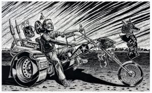 In this non-photorealistic, stylized black-and-white print, a man sits on a three-wheeled motorcycle with over-sized rear wheels and vertical tail pipes. He extends his right arm straight forward to hold a long, wooden rod topped with a coyote head and flag.
