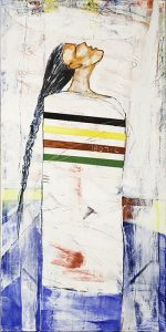 This painting depicts an abstract figure standing in profile with their head tilted back, red-orange face looking upward, and long, black, braided hair hanging down. The person is wearing a white blanket that has the recognizable set of Hudson's Bay stripes (indigo, yellow, red and green) horizontally wrapped across their chest. A rectangle of blue color fills the bottom third of the painting's background.