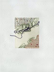 Centered on embossed white paper is a small rectangular collage with torn pages of printed text along the top and bottom edges. Green-and-black threads are stitched in jagged, meandering paths, along the inside edges of the collaged text.