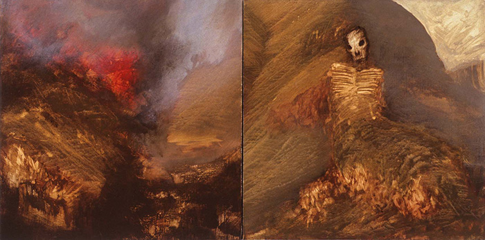 This painting depicts two scenes on individual panels. The left scene suggests a sloping hillside on fire with orange-and-red flames along with black smoke in the distance. In the center of the right scene is the head and torso of a skeleton with the legs buried in a smoldering mound and white smoke is seen in the distance.