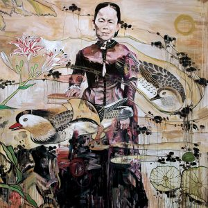 This life-size painting depicts a woman with Asian facial features standing in a garden, wearing a long-sleeve, high-neck burgundy dress, with her right hand resting on a book. Mandarin ducks, flowers, lily pads, and swirling water overly the woman. Paint appears to drip down the canvas throughout.