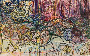 Many layers of thin, curving lines in vibrant colors almost completely obscure a shirtless, human figure lying in the center of the painting. The figure wears a wrestling mask and boots. Other masked faces are hidden throughout the lines in the artwork.