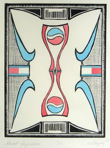 In this relief print, commercial logos in black outlines and filled-in with light-blue and light-red form the overall design. The composition is mirrored, top to bottom, and left to right. The rectangular design is surrounded by a thick black border. Pepsi logos, Nike swooshes, and Tommy Hilfiger logos are seen throughout.