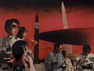 With a red-and-black sky background, this layered print depicts two groups of three people with black hair wearing sun glasses, with some holding bowls of food and eating utensils. One person in each group is looking back toward two, tall, rocket-shaped objects in the distance.