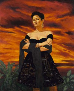 This life-size painting depicts a realistic portrait of a Chicana woman looking down at us, shown from the knees up, in a black strapless dress with a black shawl draped over her forearms. She is wearing dangling earrings, bracelets and rings, and the A-line skirt of her dress is embellished with a pattern of blue dots. Her arms are crossed and she is standing in a field with green plants beside her. The dramatic, orange-and-brown sky and clouds in the background fill most of the canvas behind and around her.