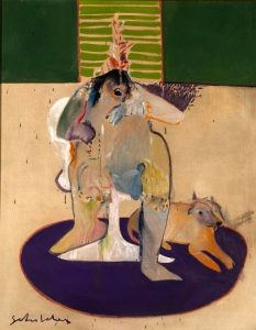 In this painting, formatted like a collage, the outline of an abstract human form with dark hair sits on a white chair with a flared base, atop a dark purple, oval rug. An orange colored, four-legged animal lies on the rug to the figure's left. A band of alternating light-and-dark-green rectangles fills the top one-quarter of the painting.