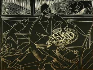 White lines on the black background of this print depict a figure sitting at a table eating a piece of a whole fish on a platter. A knife rests next to the platter on the table, while a basket of fish sits next to the table on the floor.