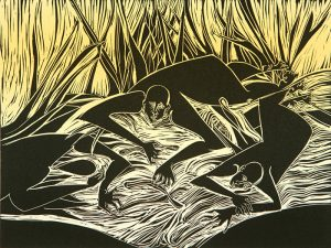 A black-and-pale-yellow print depicts four silhouetted figures, crawling on the ground, foraging for earthworms in the grass. In the background, long, tall grass extends to the top of the artwork.