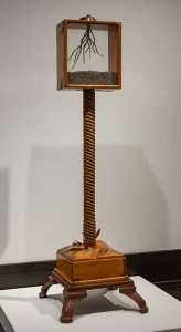 A wood-framed box with opposing glass sides sits at a height of 5 feet on an attached wooden pole with four-legged base. Visible inside the box, a green root-shaped structure hangs from the top over a bed of brown wood shavings.