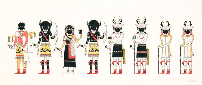An illustration of eight figures standing side-by-side, wearing black face coverings and a variety of ceremonial clothing including headdresses with horns and antlers, skirts and fringed footwear.