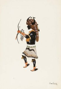 In this illustration, a man wears a black face covering and a large brown headdress with two black horns, one on each side of his head. He stands in profile, with one foot raised, and one arm outstretched holding a bow and arrow.