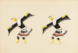 An illustration of two figures standing side-by-side bent forward from the waist with outstretched arms, mimicking a bird in flight. They wear identical costumes with yellow face coverings, white head coverings, skirts with tail feathers, and black feathers hang from their arms.