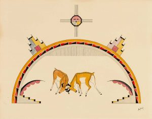 An illustration depicts two, horned antelopes butting heads under a deep yellow arch with a circular form hovering above. Sets of stairs, one on each side, are positioned beneath leading up to the arch. Two temple-shaped structures, one on each side, rest on the arch and lean outward.