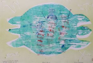 This print centers on a large turquoise turtle shape with a light lavendar outline. Three barely visible figures on the shell, shown in red-and-blue, appear to be holding rods. There are squiggly lines in each of the print's four corners.