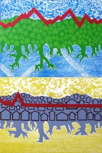 The background of this print is vertically divided in half with blue at the top and yellow at the bottom. Depicted over each background color, is a hillside shape with roots underneath. The top shape is green with trees, and the bottom shape is purple with the black outline of houses. A bold, red line cuts across each hillside like a heart rate monitor. In the top section, the line is jagged. The bottom line begins jagged but immediately transitions to being flat.