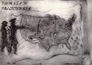 """On the darkly smudged background of this print is a map of the United States containing sketched images of oil rigs, tree stumps, and a chimney with smoke. Beneath the map is an upside-down American flag. Two figures on our left point at the map. A phrase in the upper left corner reads """"from sea to polluted sea."""""""