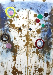 An abstract print depicts colorful, irregular dots and circles overlaid on brown splatters and drips. The left, right, and top edges have a blue background, blending into white toward the center.