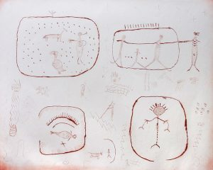 This etching of drawings in red-brown ink on a white background is organized into four sections and shows stick-figure humans interacting with animals and one another. In each quadrant, there is one roughly encircled area with figures or symbols drawn inside. Small, faint, symbols are drawn outside the circled areas.
