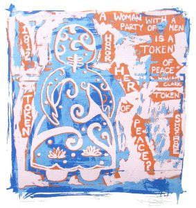 """A screen print depicts a gingerbread doll on our left in a patterned dress composed of white spirals, curves, and dots, on a mottled orange-and-blue background. The words """"A Woman with a party of men is a Token of Peace, William Clark"""" along with the word """"Shoshone"""" and the year """"1812"""" follow the outline of the doll and fill the right side of the print in rows and shaped columns of text."""